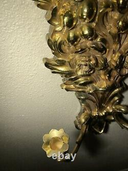 Set Of Two Vintage Syroco #4133 Wall Sconce Candle Holders Hollywood Regency