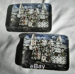 Set of TWO Rare Fornasetti Milano House of Cards Tray Dish Trinkets Original