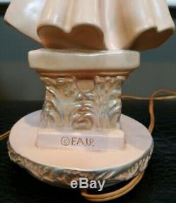 Set of TWO Vintage 50's FAIP F. A. I. P. Table Lamps Pink Chalkware Lady & Man