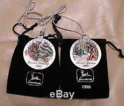Set of Two 1998-1999 John Deere Pewter Christmas Ornament - ALL NEW