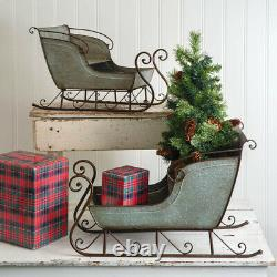 Set of Two Country new Galvanized Tin Sleighs