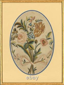 Set of Two Framed Early 19th Century Silkwork Floral Studies