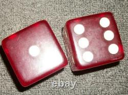 Set of Two Large Cherry Red Dice 2 Square Bakelite Vintage 2 X 2