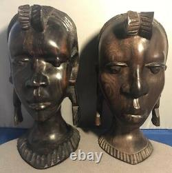 Set of two 19th Century African heavy Wood Hand carved head statuettes