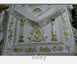 Set of two MASONIC REGALIA PAST MASTER APRON WHITE All Silver Embroidery