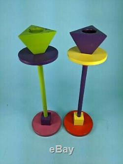 Set of two Vintage Memphis Candlesticks (Ettore Sottsass style)