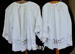 Set of two surplices with Richelieu lace superpellicum superplie vestment