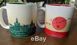 Starbucks Set Of Two 2 Seville Spain Demitasse 3oz Cups mugs YAH RARE Demi