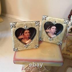 TWO JAY STRONGWATER Frame SET ENAMEL SQUARE withHEART CREAM 3 swovorski rare