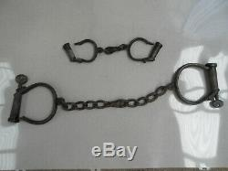 TWO SETs Antique Vintage ANKLE SHACKLES OR CUFFS with Keys. Made by HIATT & CO