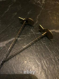 Two Fabulous Georgian Verge Balance Cock Long Hat Pins Turquoise Set