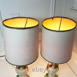 VTG OWL LAMPS (2) Set Of Two Chalkware Bird Lake House Decor MCM Table Lighting