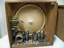 Vintage 1920s British Cossor Radio with Built-in Speaker, Two Tube Set