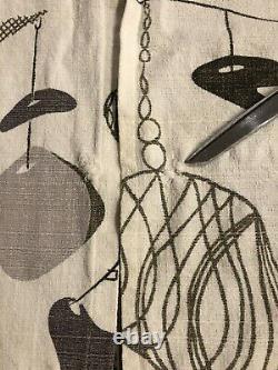 Vintage Atomic Mid Century Barkcloth Drapes TWO Sets Mobile Design Grey-tone 70
