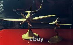 Vintage Brass Desktop Set of Two SPITFIRE Models