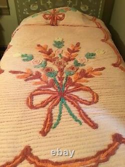 Vintage Chenille Bedspread Set Of Two Matching Twin Size