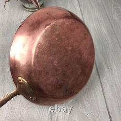 Vintage Copper Frying Pan Set Of Two Brass Handle Made In Sweden