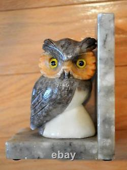 Vintage Set of Two Glass Eye Owl Alabaster Art Deco Bookends-Hand Carved-Italy