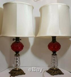 Vintage Set of Two Paul Hanson Red Cranberry Bubble Glass and Brass Table Lamp