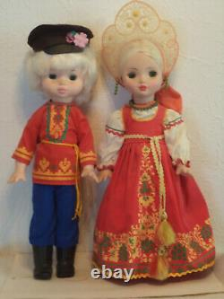 Vintage Set of Two Soviet Era Russian Doll traditional dresses