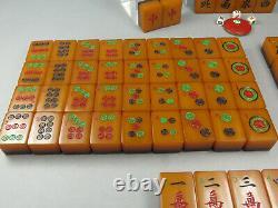 Vintage Wafer Back Amber Catalin Two Tone Apple Juice Mahjong Mahjonng Set