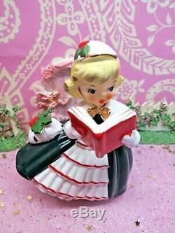 Vtg 1956 NAPCO Holly Berry Christmas Caroling Shopper Girls SET TWO W Purses