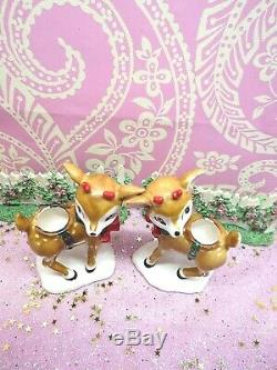 Vtg Lefton Christmas Holly Berry Reindeer Candle Holders SET OF TWO W RED BOWS