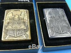 ZIPPO 1995 GREAT AMERICAN TRAINS SET of TWO BRASS AND PEWTER MINT IN BOX