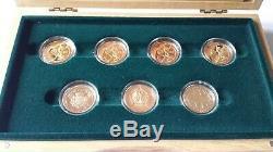 2002 Or Sporting Collection 7 X £ 2 Preuve De L'or Set Deux Livres Double Sovereign