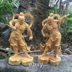 Amulette De Sculpture En Bois Artisanat Deux Rois Deva 2 Taille Réglée 21cm
