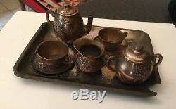Antique Japonais Du 19ème Siècle Cuivre Childs À Thé Pour Deux Sur Le Plateau Miniature