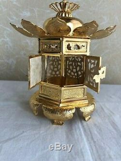Antique Lanterne Japonaise Bouddhiste Hanging Lanterne Tsuridoro Laiton Deux Set