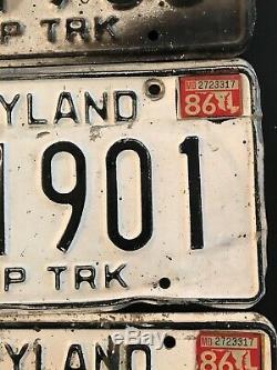 Antique Maryland Plaques Tombereau 1970 Vintage Balises Deux Ensembles Dt 1900 & 1901