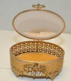 Antique Ormolu Filigree Vanity Set Beveled Clear Glass Two Bottles & Jewelry Box