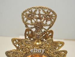 Antique Ormolu Filigree Vanity Set Beveled Peach Glass Two Bottles & Jewelry Box