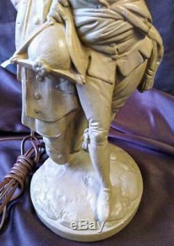 Borghese Lampes Paire De Deux 2 Set Plâtre Couple Français Homme Femme Lumières Vintage