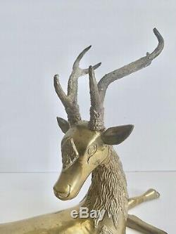 Brass Vintage Deer / Reindeer / Stag Inclinables Ensemble De Deux Hollywood Regency