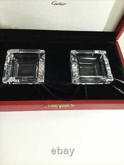Cartier Très Rare Ensemble De Deux Cendriers En Cristal Avec Boîte Originale