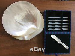 Caviar Bien Set Two Mère Naturelle De Plaques Nacre, 6 Répandre Set Couteau