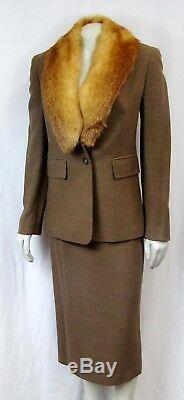 Costume Michael Kors Collection Deux Pièces Ensemble Veste Fox Col De Fourrure De Laine Jupe 4