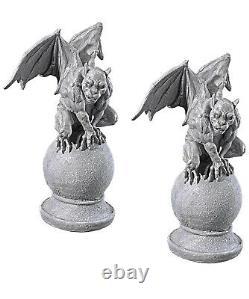 Décor D'accessoire D'halloween Ensemble De Deux Statues De Gargouille Malveillante (a)