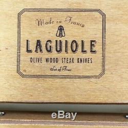 Deux Ensembles De Couteaux Laguiole Steak, 4 Couteaux Chacun, En Bois D'olivier Et Ss, Made In France