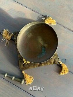 Deux Méditation Bouddhiste Bol Chantant Tibétain Antique Vintage Népalais Vieux Set
