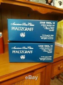 Deux Pfaltzgraff Star Trek 3 Piece Buffet Ensembles Nib Uss Enterprise Ncc-1701a Vente
