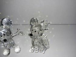 Deux Set Disney Mickey Minnie Mouse Cristal Swarovski 4 Figurines Autriche Aucune Boîte
