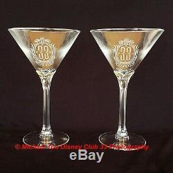Disney Disneyland Club De 33 Cocktail Set Martini Mib Mixer Et Deux Verres Nouveau