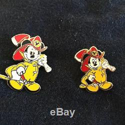 Disney Pompier Mickey Deux Variantes 2 Pin Set Chief Fire Fighter