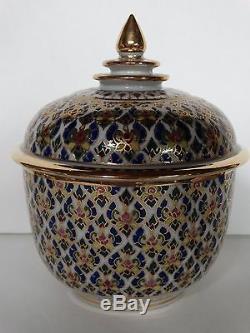 Domaine Intricate Benjarong Assortis Porcelaine Lidded Jars Conteneurs Ensemble De Deux