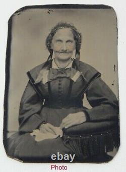 Ensemble De Deux Antique Tintype Type D'étain Photos Vieille Femme Et Homme Avec Violon