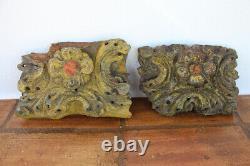 Ensemble De Deux Fragments D'autel Baroque Antique, 17ème Siècle Indo-portugais